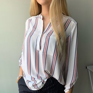 FOREVER 21 BLUE, WHITE, RED STRIPED BLOUSE
